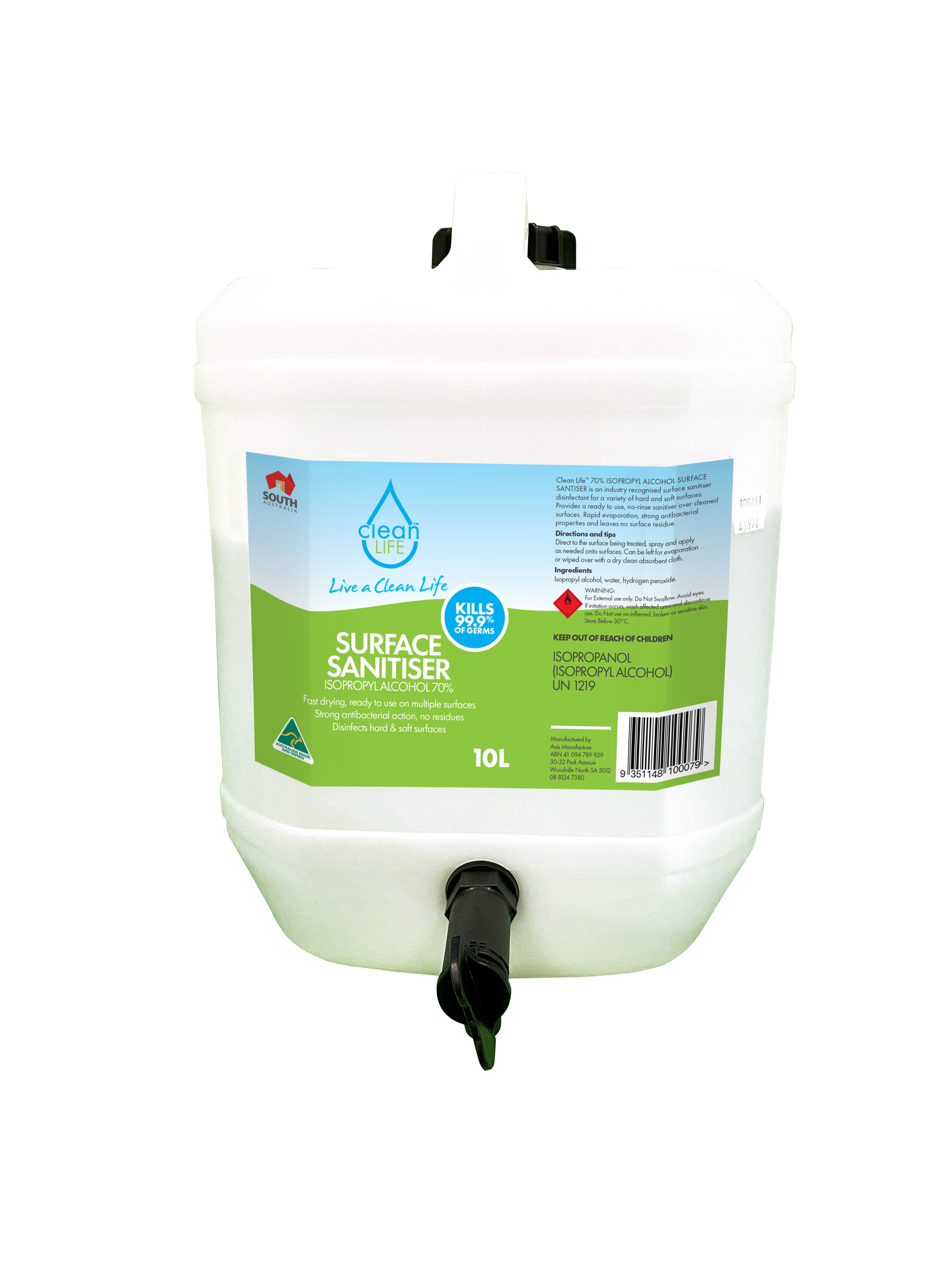 Surface Sanitiser - Isopropyl, Alcohol 70% 10lt