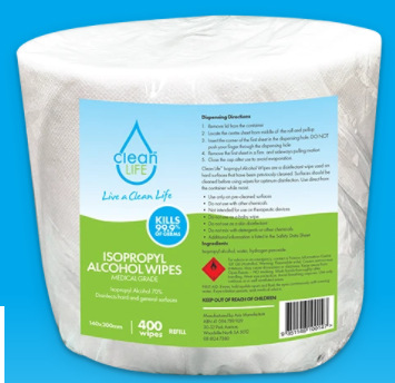 Isopropyl (70% IPA) Antibacterial Surface Wipes, Tub of 400 Refills 3 Pack