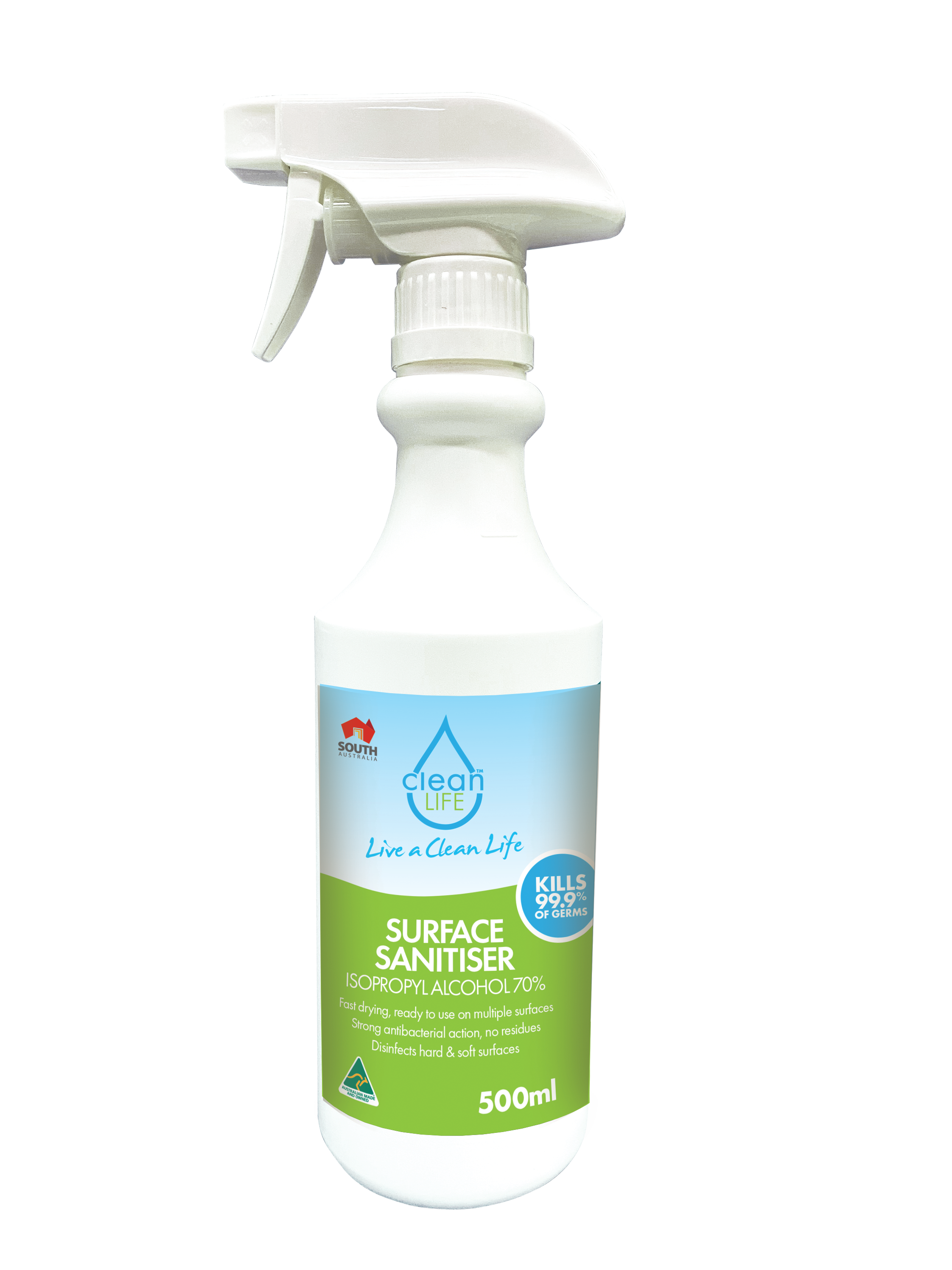 Surface Sanitiser (70% IPA) Isopropyl Spray, 500ml 6 Pack
