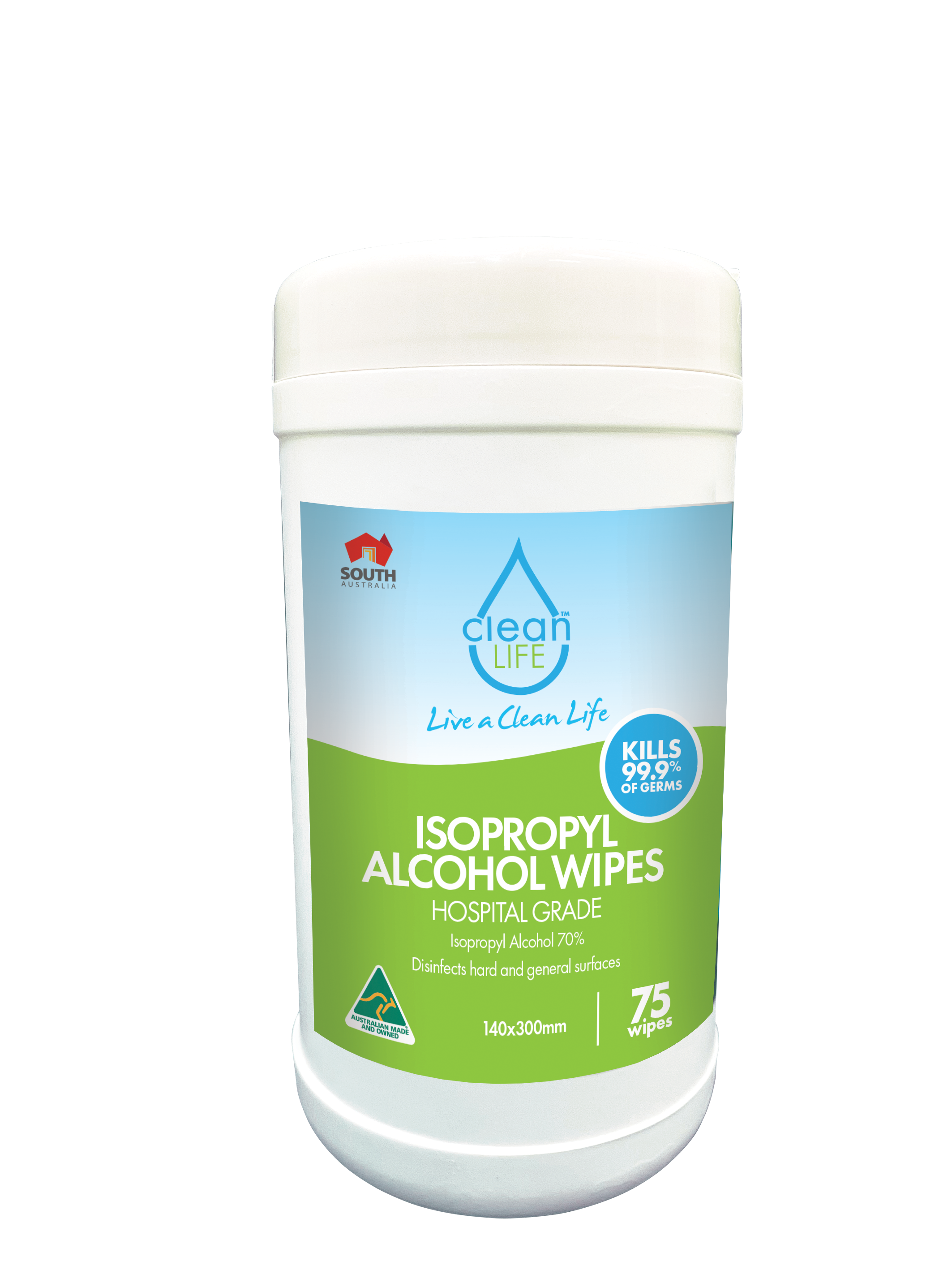 Isopropyl (70% IPA) Antibacterial Surface Wipes, Cannister of 75