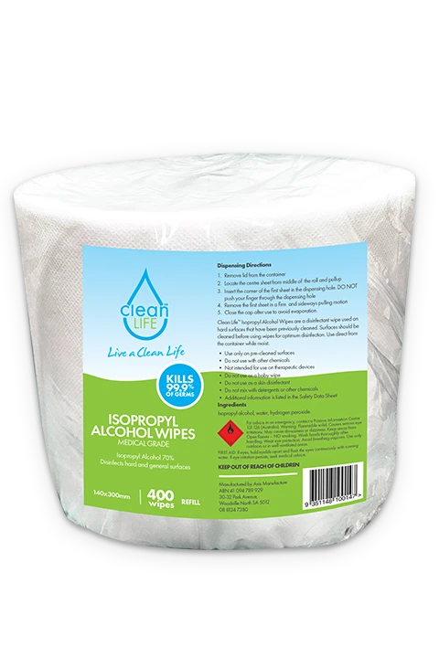 Isopropyl (70% IPA) Antibacterial Surface Wipes, Tub of 400 Refills
