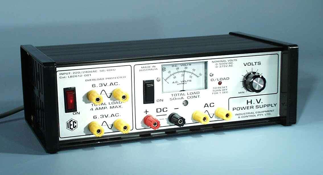 Power Supply, Variable, High Voltage (500VDC/300VAC 50mA max) + (2 x 6.3VAC 4A max)