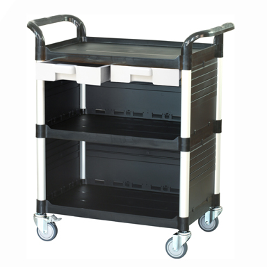 Trolley with 3 Shelves, 2 Drawers and Side Panels